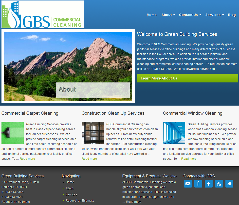 gbs commercial cleaning homepage screenshot
