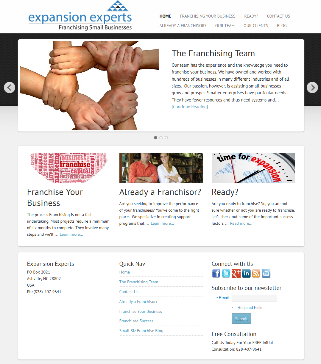Expansion Experts homepage