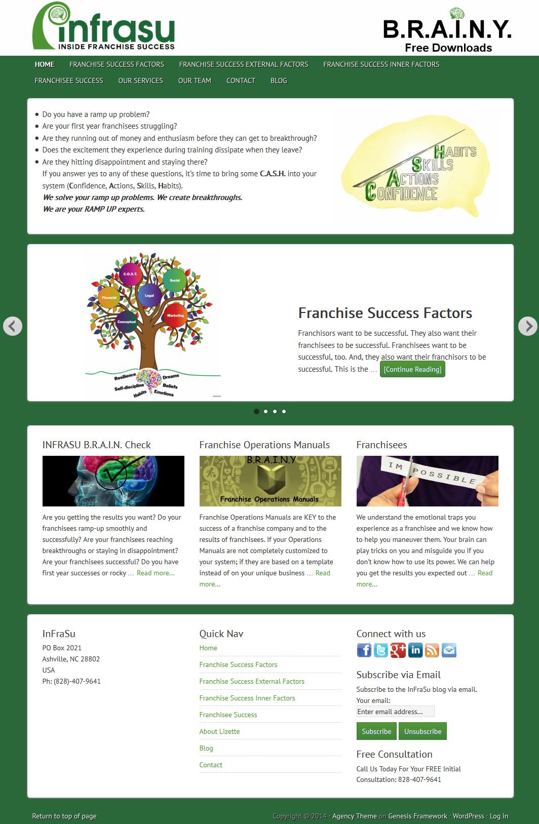 InFraSu - Inside Franchise Success website homepage.