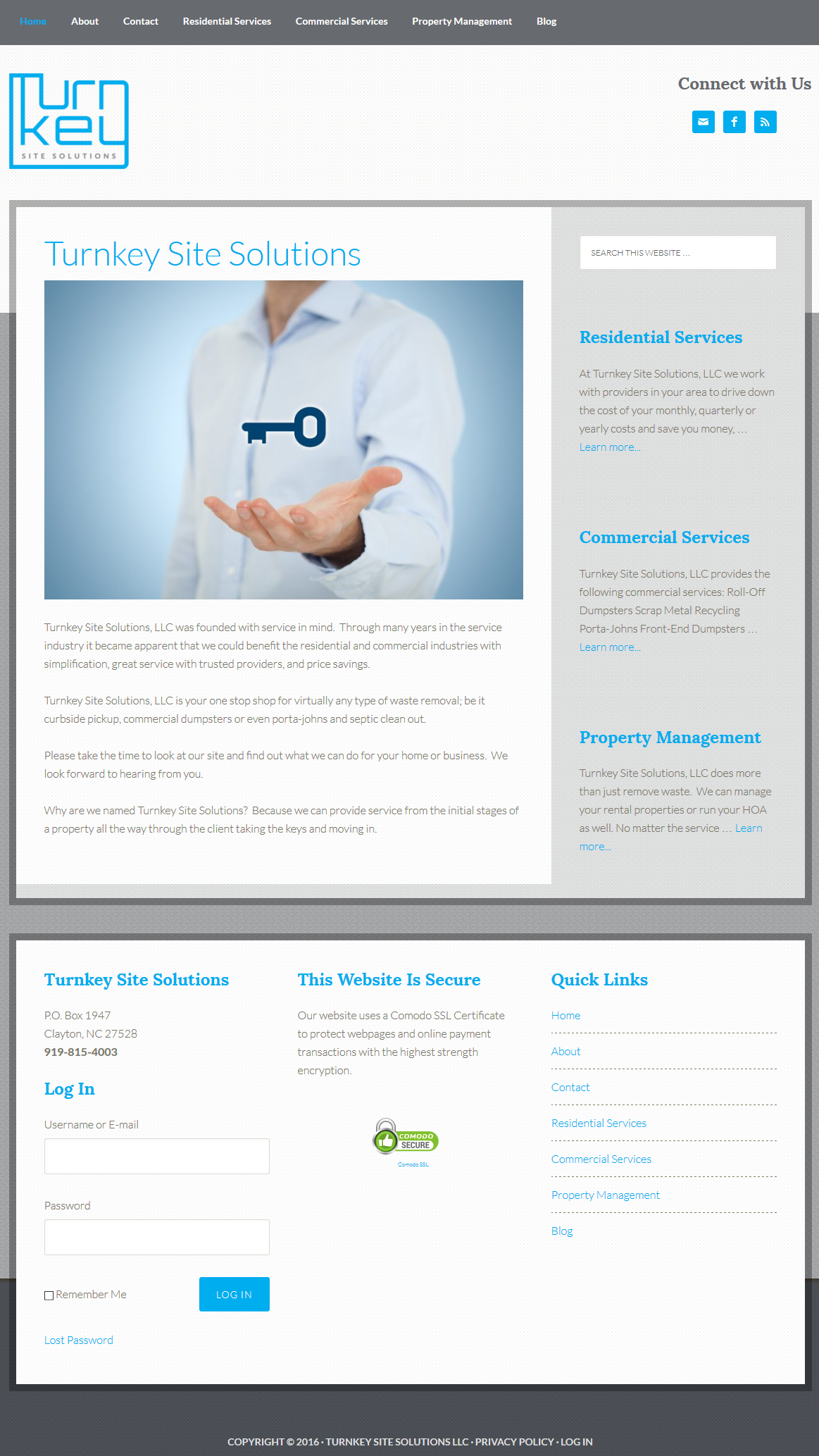 Turnkey Site Solutions Homepage Screenshot